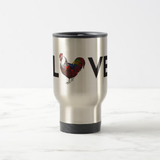 """Fluffy Layers """"LOVE"""" Rooster Travel Coffee Mug"""