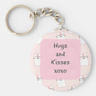 Fluffy Marshmallow Kitty in Pink | Hugs and Kisses Keychain