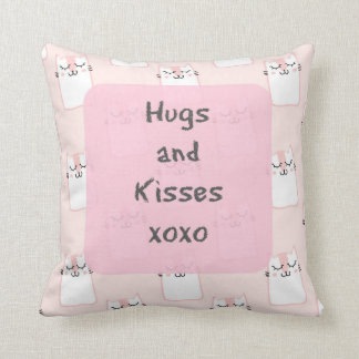 Fluffy Marshmallow Kitty in Pink | Hugs and Kisses Throw Pillow