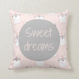 Fluffy Marshmallow Kitty in Pink | Sweet Dreams Throw Pillow