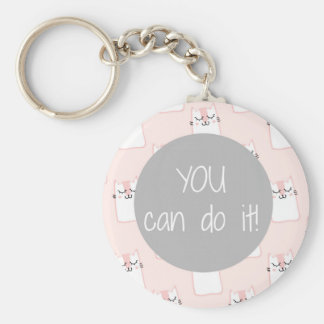 Fluffy Marshmallow Kitty in Pink | You Can Do It Keychain