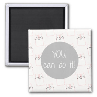 Fluffy Marshmallow Kitty in Pink | You Can Do It Magnet