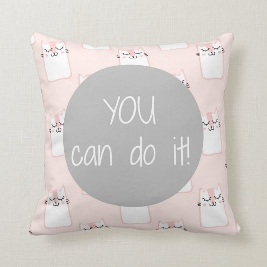 Fluffy Marshmallow Kitty in Pink | You Can Do It Throw Pillow