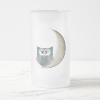 Fluffy Owl on the Moon Frosted Glass Beer Mug