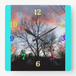 Fluffy Puffy Clouds Square Wall Clock