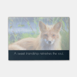 Fluffy Red Fox with Friendship Quote Post-it Notes