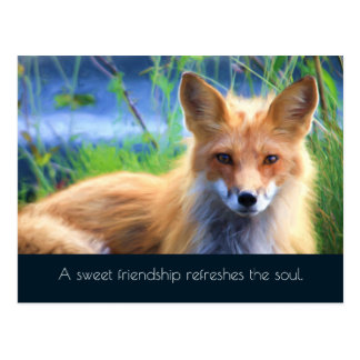Fluffy Red Fox with Friendship Quote Postcard