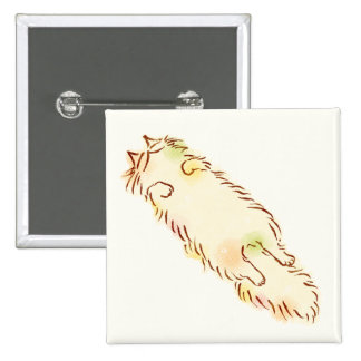 Fluffy Sleepy Cat 2 Inch Square Button