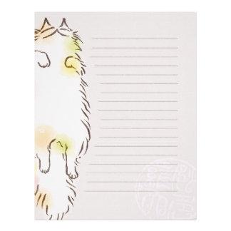 Fluffy Sleepy Cat Personalized Letterhead