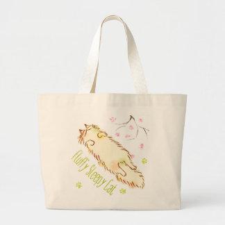 Fluffy Sleepy Cat Plum blossom Jumbo Tote Bag