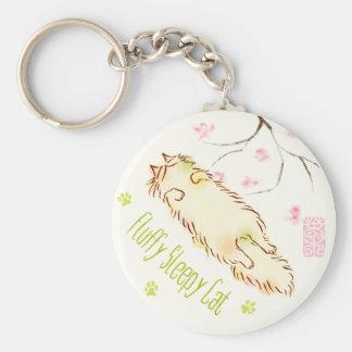 Fluffy Sleepy Cat Plum blossom Basic Round Button Keychain