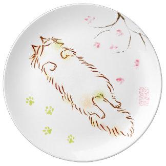 Fluffy Sleepy Cat Plum blossom Porcelain Plates