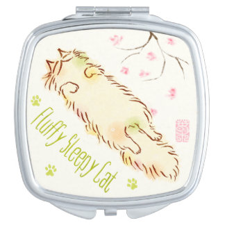 Fluffy Sleepy Cat Plum blossom Makeup Mirrors
