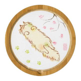 Fluffy Sleepy Cat Plum blossom Round Cheeseboard