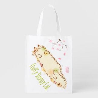 Fluffy Sleepy Cat Plum blossom Reusable Grocery Bags