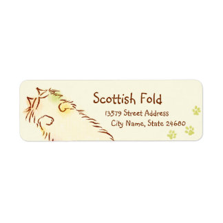 Fluffy Sleepy Cat Return Address Label