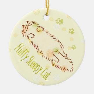 Fluffy Sleepy Cat Round Ceramic Ornament
