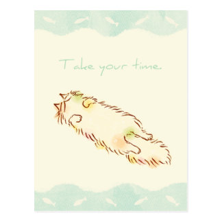 Fluffy Sleepy Cat Take your time Postcard