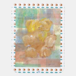 Fluffy Teddy Bear Art New Baby Blanket Shower Gift
