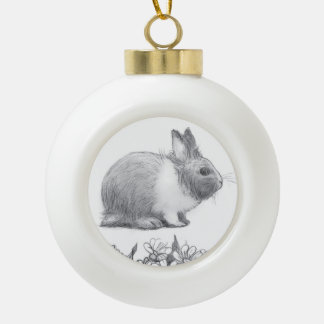 Fluffy the rabbit. Pencil drawing. Ceramic Ball Christmas Ornament