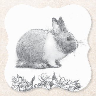 Fluffy the rabbit. Pencil drawing. Paper Coaster