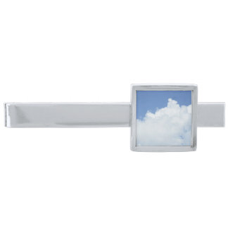 Fluffy White Clouds in Bright Blue Sky Silver Finish Tie Bar