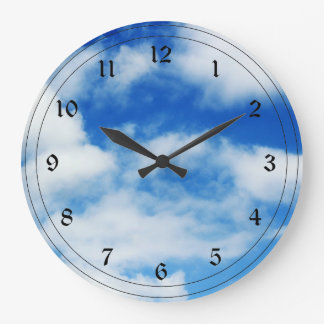 Fluffy White Clouds Large Clock
