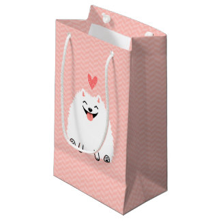 Fluffy White Pomeranian with Valentine Heart Small Gift Bag