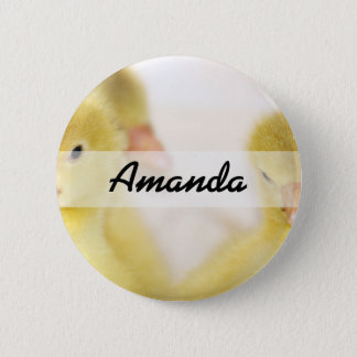 Fluffy Yellow Ducklings 2 Inch Round Button