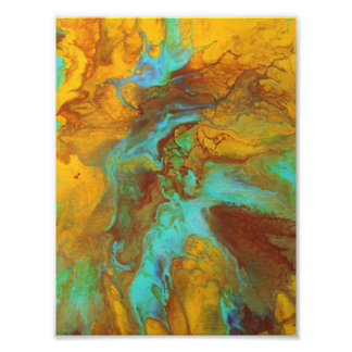Fluid abstract in teal and yellow photo art