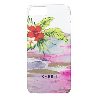 Fluid Colors & Tropical Hibiscus Bouquet iPhone 8/7 Case