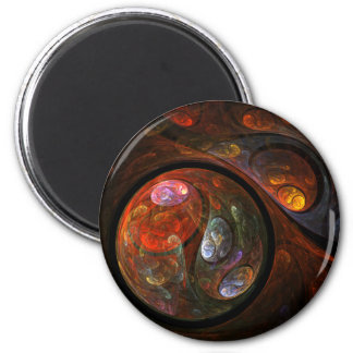 Fluid Connection Abstract Art Round Magnet