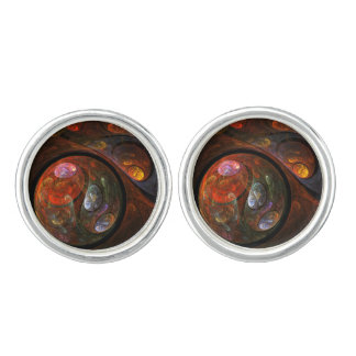 Fluid Connection Abstract Art Silver Plated Cuff Links