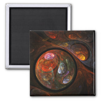 Fluid Connection Abstract Art Square Magnet