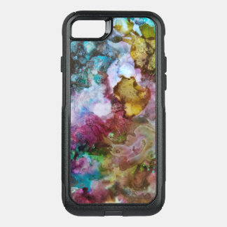 Fluid watercolor blue, green, violet OtterBox commuter iPhone 8/7 case