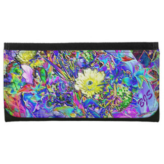 Fluorescent Blue Lavender Yellow Floral Lg Wallet