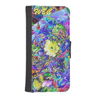 Fluorescent Blue, Lavender, Yellow Floral Monogram iPhone 5 Wallet Cases