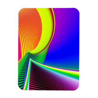 Fluorescent Boat and Giant Wave Fractal Rectangular Photo Magnet