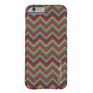 fluorescent colored zigzags personalized by name barely there iPhone 6 case