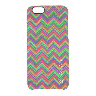 fluorescent colored zigzags personalized by name clear iPhone 6/6S case