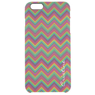 fluorescent colored zigzags personalized by name clear iPhone 6 plus case