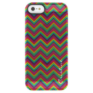 fluorescent colored zigzags personalized by name clear iPhone SE/5/5s case