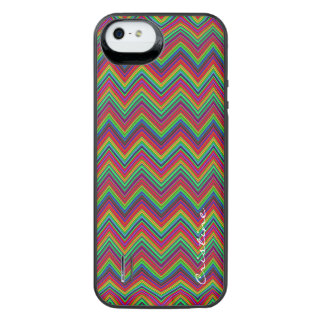 fluorescent colored zigzags personalized by name iPhone SE/5/5s battery case