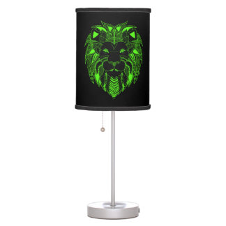 Fluorescent Green and Black Lion Table Lamp