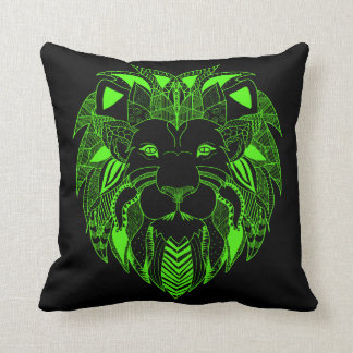 Fluorescent Green and Black Lion Throw Pillow