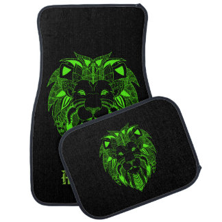 Fluorescent Green and Black Lion With Custom Text Car Mat