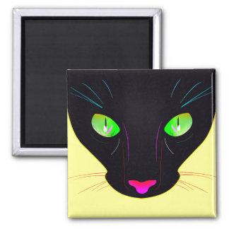 Fluorescent Green Cat Eyes Portrait Magnet