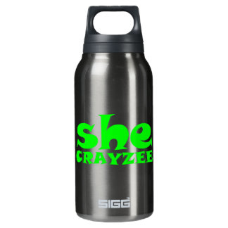 Fluorescent Green She Crayzee Insulated Water Bottle