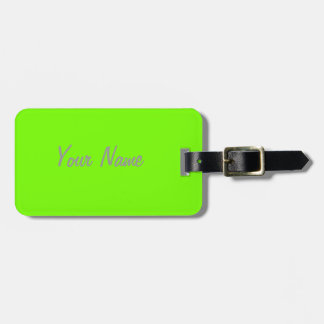 fluorescent green solid color luggage tag