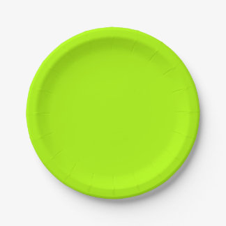 Fluorescent Green Solid Colour Paper Plate